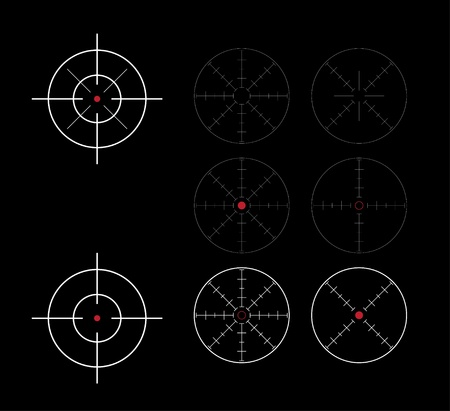 reticle: set of crosshairs direction finders - illustration