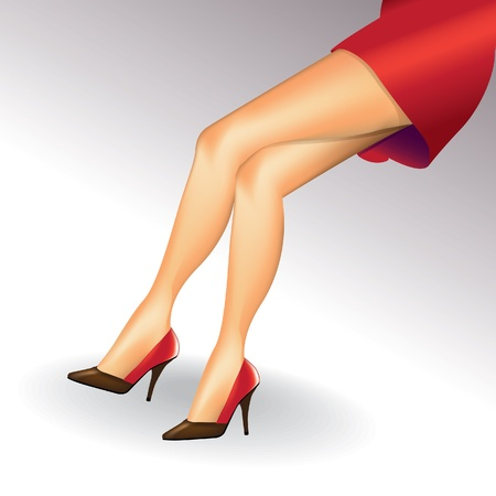 sexy woman legs with shoes - illustration Vector