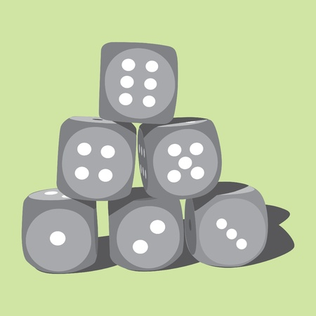 Six wood playing dices - illustration Stock Vector - 12450110