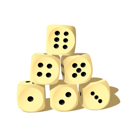 Six wood playing dices - isolated illustration Stock Vector - 12450111