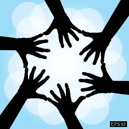 cooperative: six human cooperative hands - illustration