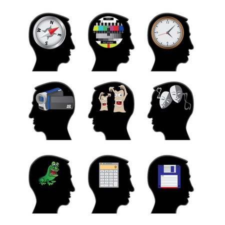 diskette: things in silhouette head illustration