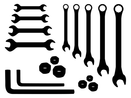 nut bolt: set of stainless spanners -silhouette illustration