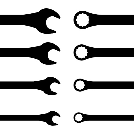spanners:  Stainless steel spanners  silhouette illustration