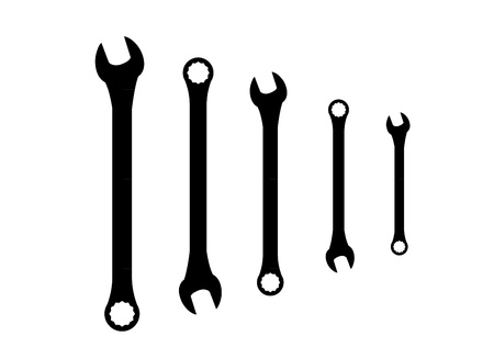 forkwrench: Stainless steel spanners silhouette illustration Illustration