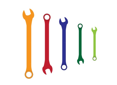 forkwrench: Stainless steel color spanners silhouette illustration