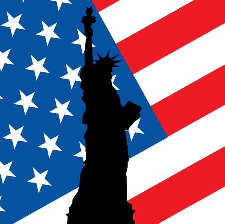 statue of liberty on use flag illustration Vector