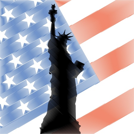 american history: statue of liberty on use flag illustration