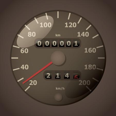 tachometer:   classic analog tachometer - realistic illustration Illustration