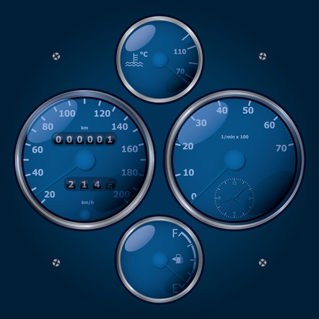 Eps10 conjunto de tacómetros clásicos analógicos - ilustración realista Foto de archivo - 12453248