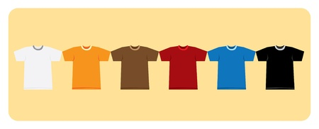 Color t-shirts on orange background illustration Vector