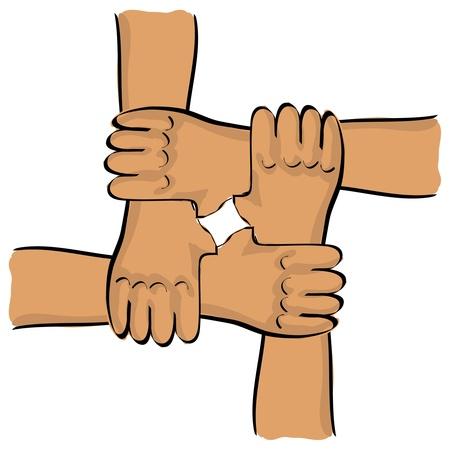 teamwork hands: symbolic teamwork hands connection - illustration