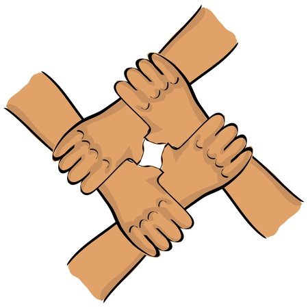 four person: symbolic teamwork hands connection - illustration