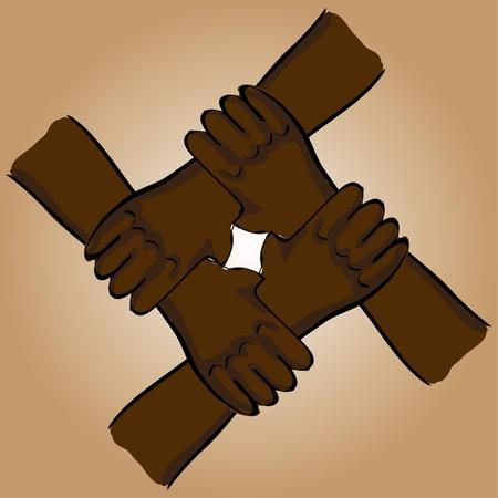 symbolic teamwork hands connection - illustration Stock Vector - 12452971