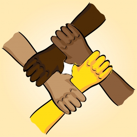 casual business team: symbolic teamwork hands connection - illustration