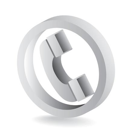 3D grey telephone symbol icon - illustration Vector