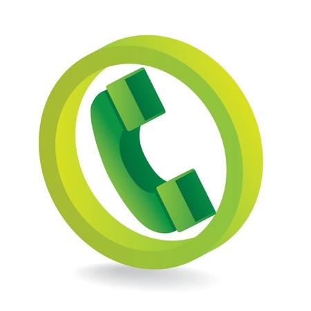 3D green telephone symbol icon - illustration Vector