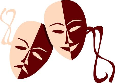 Theatre masks lucky sad - illustration Vector
