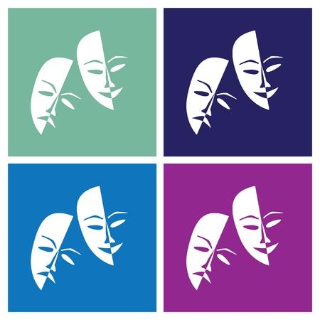 Theatre masks lucky sad in pop-art style - illustration