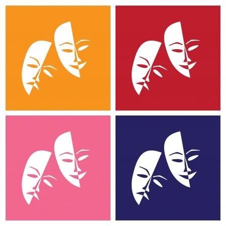 Teatro afortunados máscaras tristes en el pop-art al estilo de ilustración - Foto de archivo - 12452956