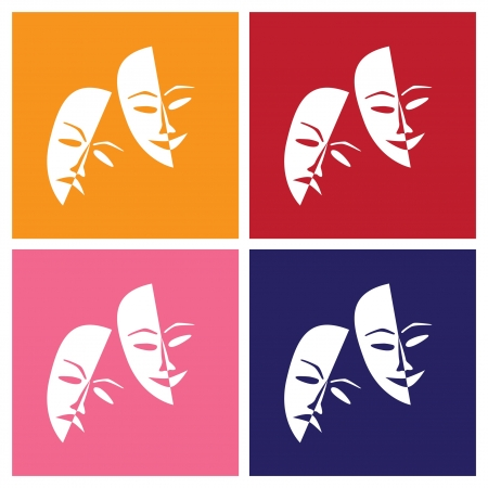 warhol: Theatre masks lucky sad in pop-art style - illustration