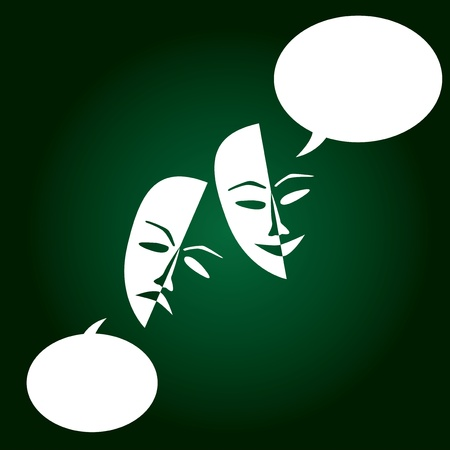Theatre masks lucky sad on a dark background- illustration Vector