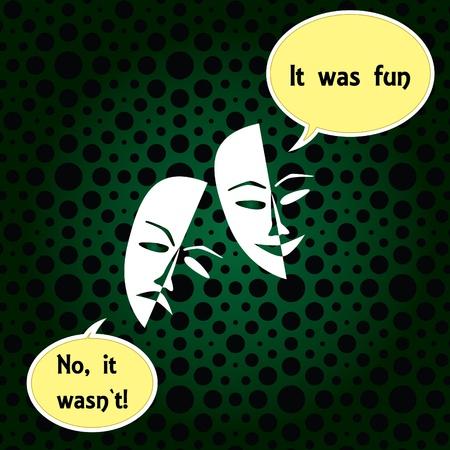 Theatre masks lucky sad on a dark background- illustration Stock Vector - 12452974
