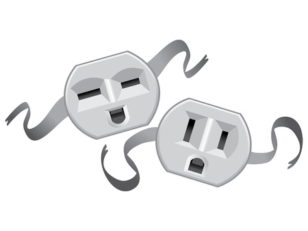 electrical outlet: theatre masks lucky and sad from US electric socket - illustration Illustration