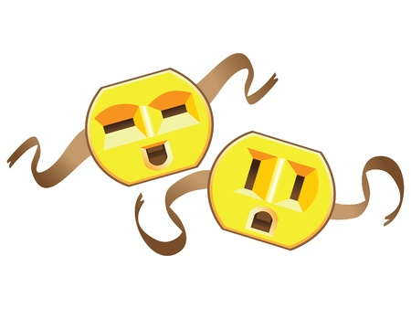 theatre masks lucky and sad from US electric socket - illustration Illustration