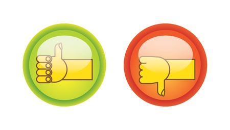 thumb up and down on glossy buttons illustration Stock Vector - 12453885