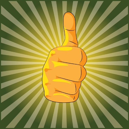 middle finger:  thumb up shiny background - illustration Illustration