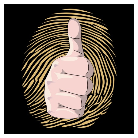thumb up with fingerprint background illustration Stock Vector - 12452957