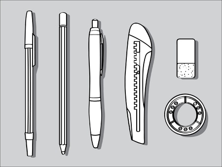 eraser: pen pencil cutter eraser and tape - office tool illustration Illustration
