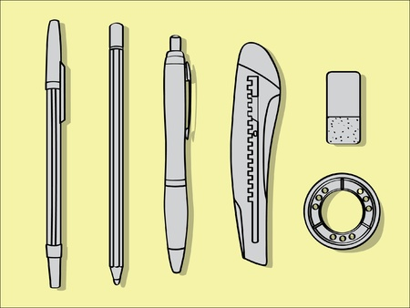 pen pencil cutter eraser and tape - office tool illustration Vector