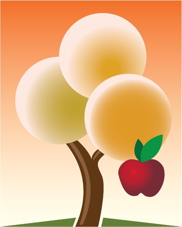Autumn tree with red apple - illustration Vector