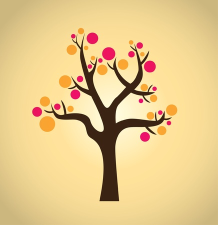 abstract tree with bubbles - illustration Vector
