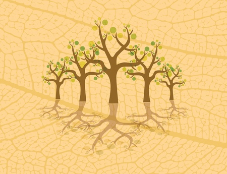 abstract trees with bubbles - illustration