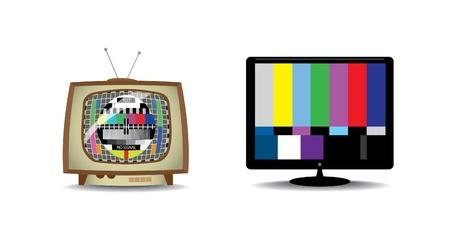 old watch: Old and new television with tv test screen - illustration