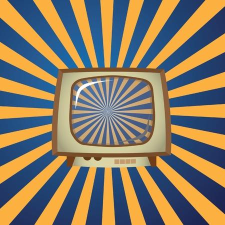 Old TV on stripes background - illustration Stock Vector - 12453876