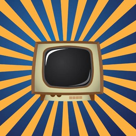 EPS10 Old TV on stripes background - illustration Stock Vector - 12453124