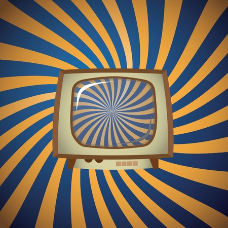 Old TV on stripes background - illustration Vector