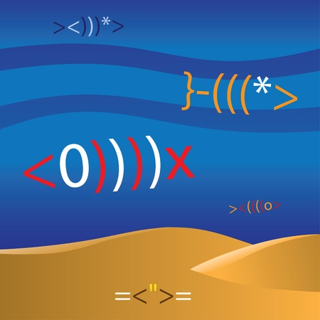 moving activity: underwater life from emoticons - illustration Illustration