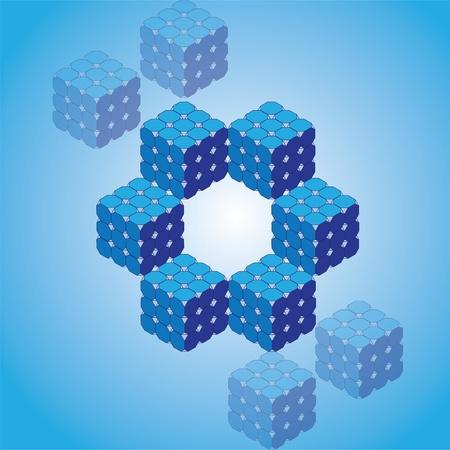 isometric rubik cubes  illustration Stock Vector - 12453159