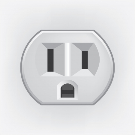 electric socket: U S  electric household outlet isolated - illustration