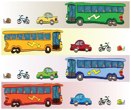 cartoon vehicles car, bus bike and snail - illustration Vector