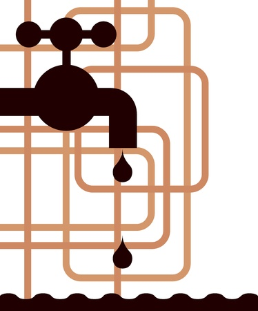 chemical equipment: tap water and pipes - illustration