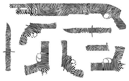 finger on trigger: weapons fingerprint silhouette - isolated illustration
