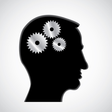 Cogs or gears in human head - illustration Vector