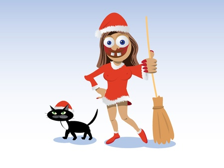christmas witch in red dress with broom and black cat - illustration Stock Vector - 12453116