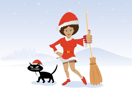 christmas witch in red dress with broom and black cat - illustration Stock Vector - 12453136